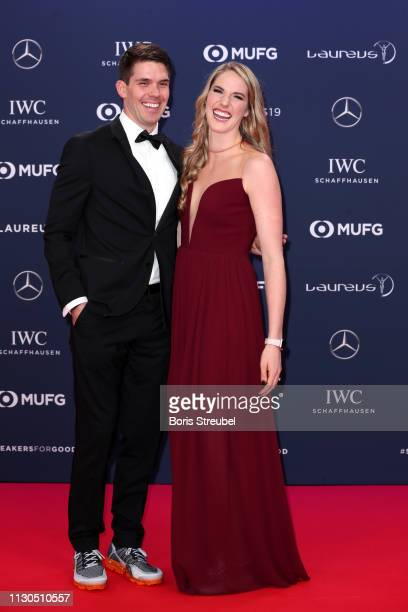 Laureus Academy Member Missy Franklin and Hayes Johnson arrives for the 2019 Laureus World Sports Awards on February 18 2019 in Monaco Monaco