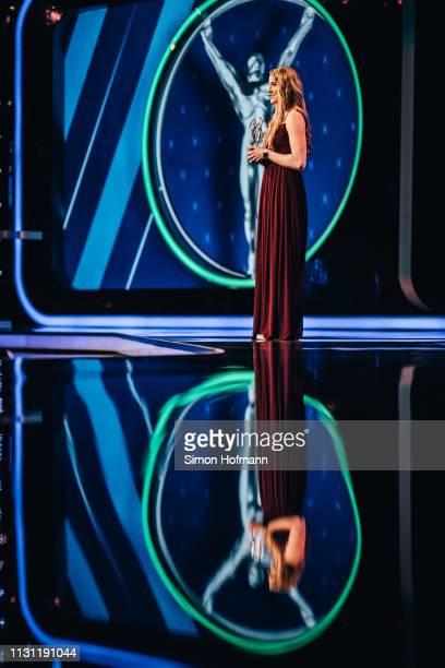 Laureus Academy Member Missy Franklin announces the Laureus Good For Sport Award on stage during the 2019 Laureus World Sports Awards at the Salle...