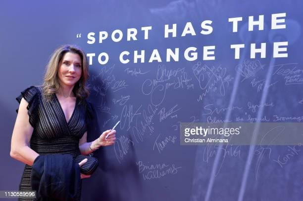 Laureus Academy Member Monica Seles by the Nelson Mandela wall during the 2019 Laureus World Sports Awards on February 18 2019 in Monaco Monaco