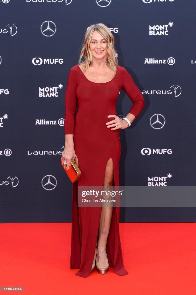 Laureus Academy Member Nadia Comaneci attends the 2018 Laureus World Sports Awards at Salle des Etoiles, Sporting Monte-Carlo on February 27, 2018 in Monaco, Monaco.