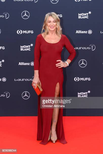 Laureus Academy Member Nadia Comaneci attends the 2018 Laureus World Sports Awards at Salle des Etoiles, Sporting Monte-Carlo on February 27, 2018 in...