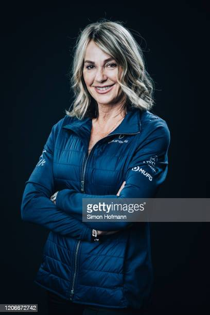 Laureus Academy member Nadia Comaneci poses at the Mercedes Benz Building prior to the 2020 Laureus World Sports Awards on February 16 2020 in Berlin...
