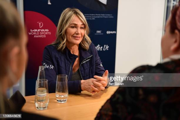 Laureus Academy Member Nadia Comaneci speaks during an interview at the Mercedes Benz Building prior to the Laureus World Sports Awards on February...
