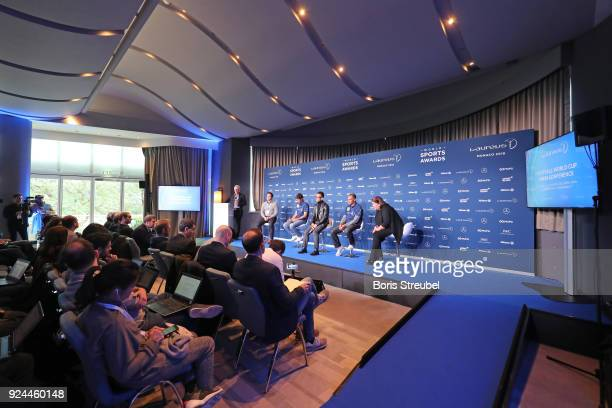 Laureus Academy Member Raul Hidetoshi Nakata and Laureus Academy Member Cafu are interviewed prior to the 2018 Laureus World Sports Awards at Le...
