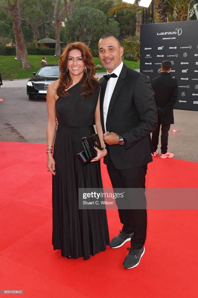 Laureus Academy Member Ruud Gullit (R) and Estelle Cruyff attend the 2018 Laureus World Sports Awards at Salle des Etoiles, Sporting Monte-Carlo on February 27, 2018 in Monaco, Monaco.