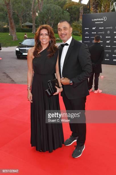 Laureus Academy Member Ruud Gullit and Estelle Cruyff attend the 2018 Laureus World Sports Awards at Salle des Etoiles Sporting MonteCarlo on...