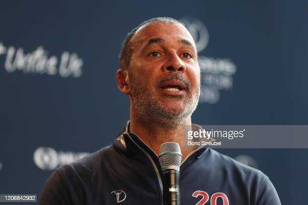 Laureus Academy Member Ruud Gullit speaks during the Football Coaches discussion at the Mercedes Benz Building prior to the Laureus World Sports...