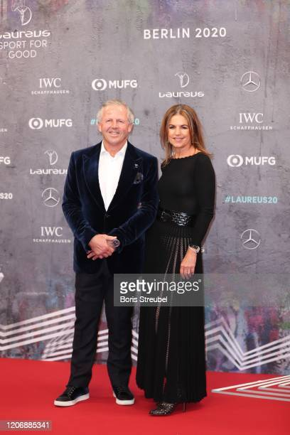 Laureus Academy member Sean Fitzpatrick and his wife Bronwyn Fitzpatrick attend the 2020 Laureus World Sports Awards at Verti Music Hall on February...