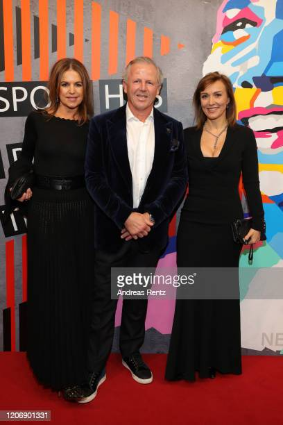 Laureus Academy member Sean Fitzpatrick, his wife Bronwyn Fitzpatrick and guest attend the 2020 Laureus World Sports Awards at Verti Music Hall on...