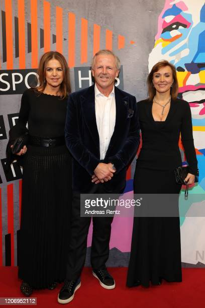 Laureus Academy member Sean Fitzpatrick , his wife Bronwyn Fitzpatrick and guest attend the 2020 Laureus World Sports Awards at Verti Music Hall on...