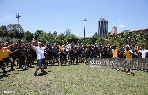 Laureus Academy Member Sean Fitzpatrick leads a 'haka' alongside Alexey Nemov Daley Thompson and Morne du Plessis and players during the LWSA COBRA...