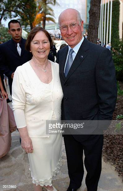 Laureus Academy Member Sir Bobby Charlton with his wife attend the Laureus Sport for Good Foundation Dinner and Auction at the Monte Carlo Sporting...