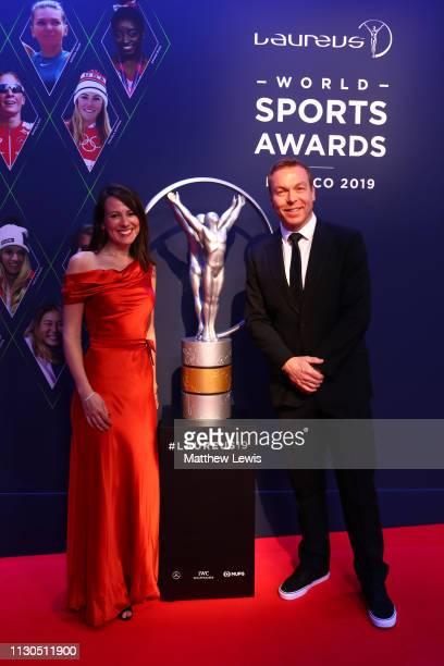 Laureus Academy Member Sir Chris Hoy and Sarra Hoy arrive for the 2019 Laureus World Sports Awards on February 18 2019 in Monaco Monaco