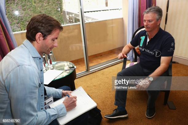 Laureus Academy member Steve Waugh attends a media interview prior to the 2017 Laureus World Sports Awards at the Sea ClubLe Meridien on February 14...
