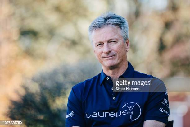 Laureus Academy Member Steve Waugh is interviewed during the Laureus Sport for Good Global Summit in partnership with Allianz at INSEP on October 16,...