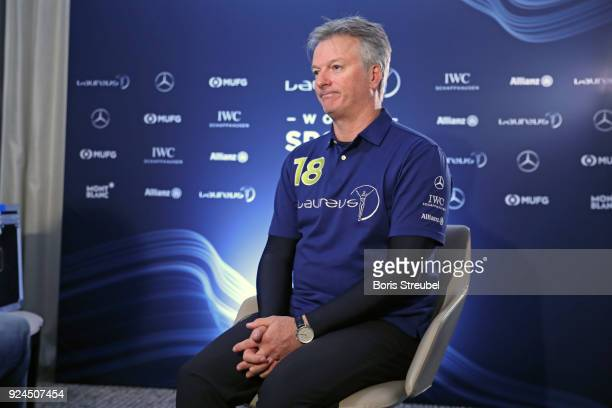 Laureus Academy member Steve Waugh is interviewed prior to the 2018 Laureus World Sports Awards at Le Meridien Beach Plaza Hotel on February 26 2018...