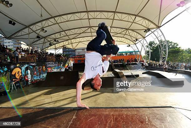 Laureus Academy Member Tony Hawk shows his skateboarding skills as he visits an urban skateboard park ahead of the Laureus World Sports Awards at...