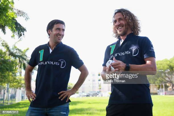 Laureus Academy Members Carles Puyol and Raul Gonzalez visit a Laureussupported Up2Us Sports project ahead of El Clasico on July 28 2017 in Miami...