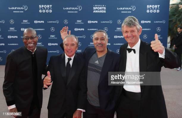 Laureus Academy Members Edwin MosesHugo PortaDaley Thompson Morne du Plessis arrive during the 2019 Laureus World Sports Awards on February 18 2019...