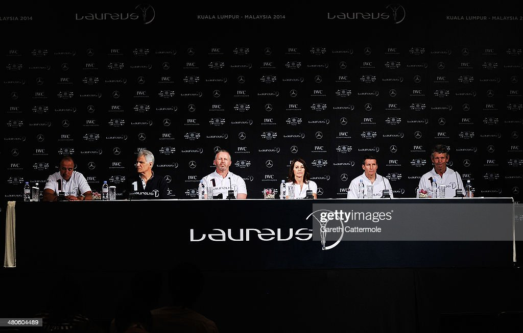 Laureus Academy Members Hugo Porta,Mark Spitz, Sean Fitzpatrick, Nadia Comaneci, Lord Sebastian Coe,Morne du Plessis attend the Fifteen Years of Laureus Press Conference ahead of the 2014 Laureus World Sports Awards at the Shangri-la Hotel on March 26, 2014 in Kuala Lumpur, Malaysia.