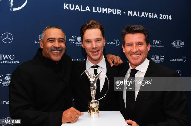 Laureus Academy members Lord Sebastian Coe and Daley Thompson with host and actor Benedict Cumberbatch attends the 2014 Laureus World Sports Awards...