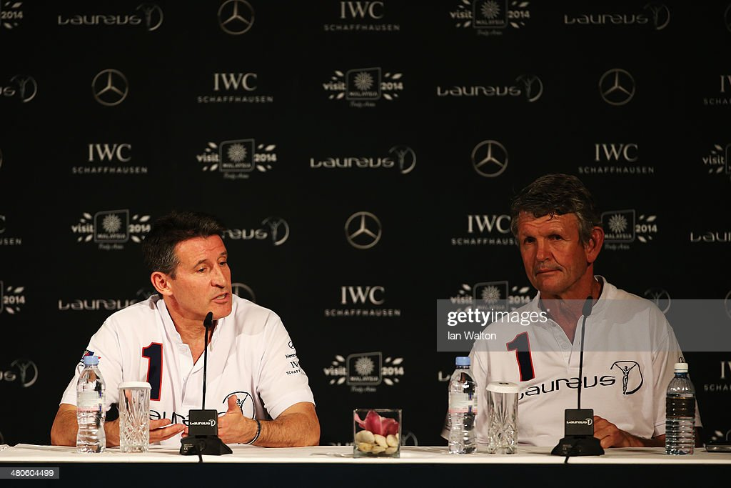 Laureus Academy members Lord Sebastian Coe and Morne du Plessis attend the Fifteen Years of Laureus Press Conference ahead of the 2014 Laureus World Sports Awards at the Shangri-la Hotel on March 26, 2014 in Kuala Lumpur, Malaysia.