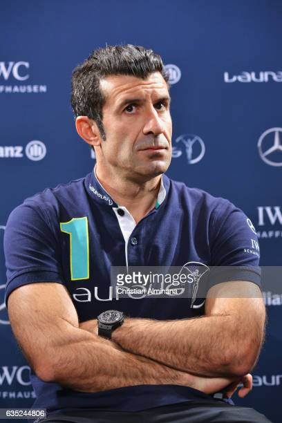 Laureus Academy members Luis Figo attends a press conference prior to the 2017 Laureus World Sports Awards at the Sea ClubLe Meridien on February 14...