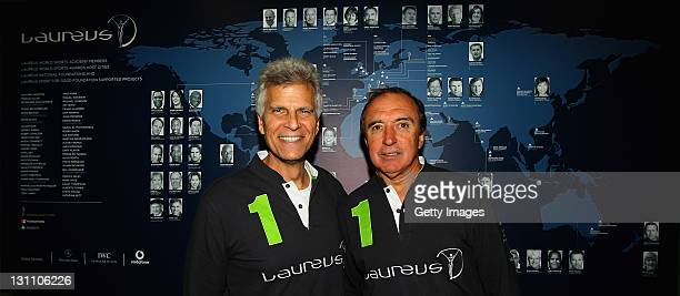 Laureus Academy members Mark Spitz and Hugo Porta pose for a picture during the 2011 Laureus Sport for Good Summit held at The Kia Oval on November 1...