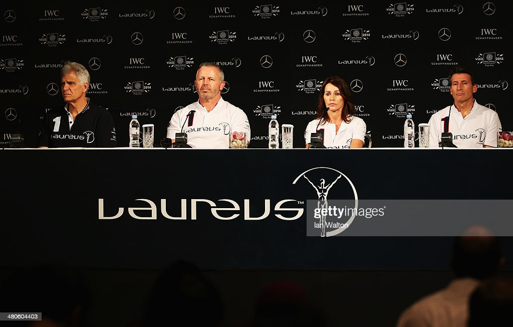 Laureus Academy Members Mark Spitz, Sean Fitzpatrick, Nadia Comaneci, Lord Sebastian Coe attend the Fifteen Years of Laureus Press Conference ahead of the 2014 Laureus World Sports Awards at the Shangri-la Hotel on March 26, 2014 in Kuala Lumpur, Malaysia.