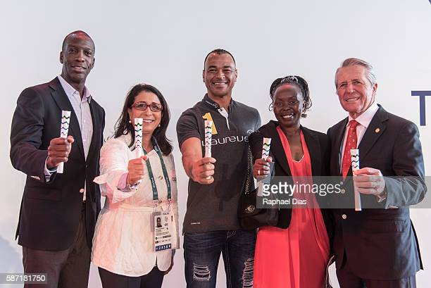 Laureus Academy Members Michael Johnson Nawal El Moutawakel Cafu Tegla Laroupe Gary Player at the Laureus AIPS Olympics Welcome Event on August 8...
