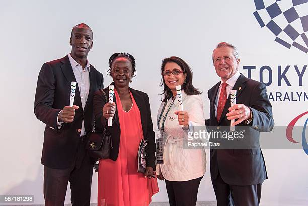Laureus Academy Members Michael Johnson Tegla Loroupe Nawal El Moutawakel Gary Player at the Laureus AIPS Olympics Welcome Event on August 8 2016 in...
