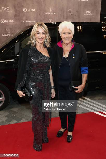 Laureus Academy members Nadia Comaneci and Dawn Fraser attend the 2020 Laureus World Sports Awards at Verti Music Hall on February 17 2020 in Berlin...