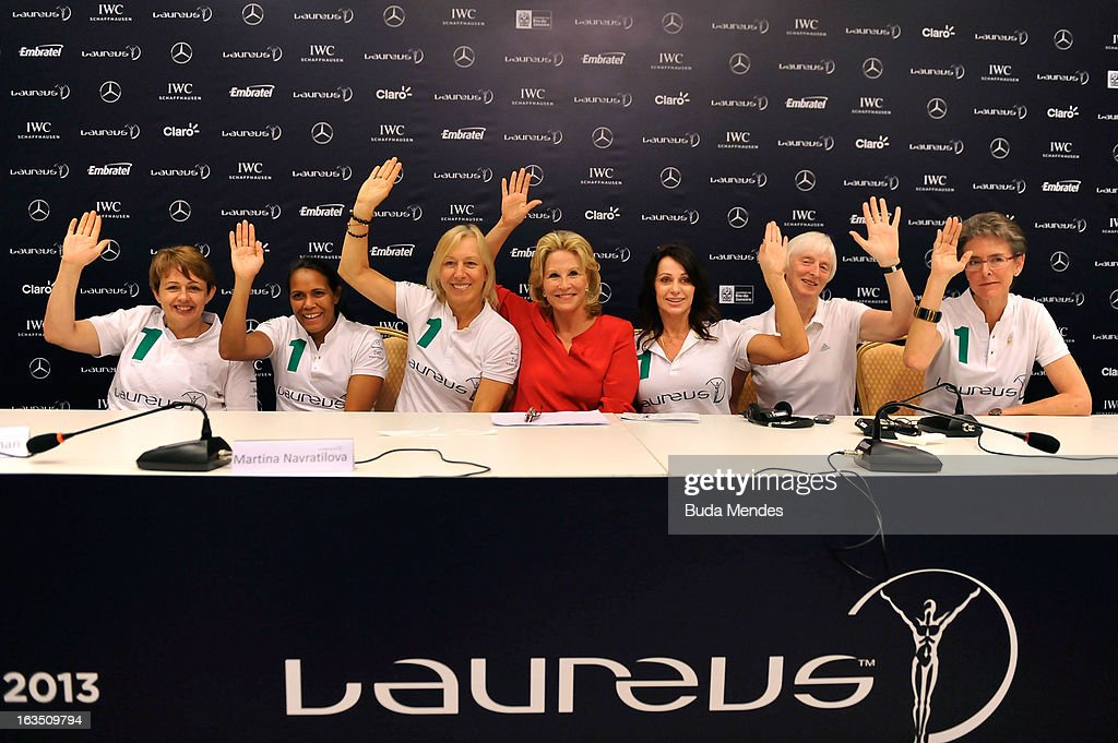 Laureus Academy Members Tanni Grey - Thompson,Cathy Freeman, Martina Navratilova, Olympic Medalist Donna De Varona, Laureus Academy Member Nadia Comaneci and Sue Campbell, Chairman of UK Sport with Beth Brooke, Global Vice Chair of Ernst & Youngattends the Women In Sport Press Conference at the Windsor Atlantica during the 2013 Laureus World Sports Awards on March 11, 2013 in Rio de Janeiro, Brazil.