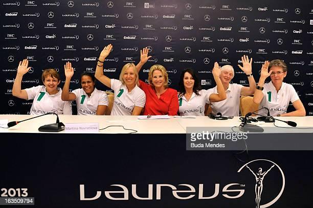 Laureus Academy Members Tanni Grey ThompsonCathy Freeman Martina Navratilova Olympic Medalist Donna De Varona Laureus Academy Member Nadia Comaneci...