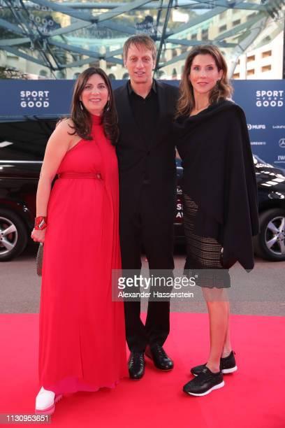 Laureus Academy Members Tony Hawk and Monica Seles arrive during the 2019 Laureus World Sports Awards on February 18 2019 in Monaco Monaco