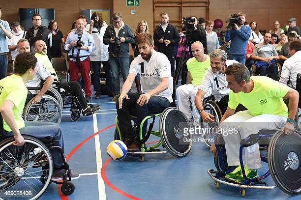 Laureus Ambassador and FC Barcelona player Gerard Pique in action during a korfball match at the Insitut Guttmann on April 9 2015 in Barcelona Spain