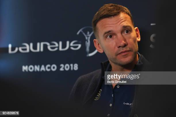 Laureus Ambassador Andriy Shevchenko is interviewed prior to the Laureus World Sports Awards at the Meridien Beach Plaza on February 27 2018 in...