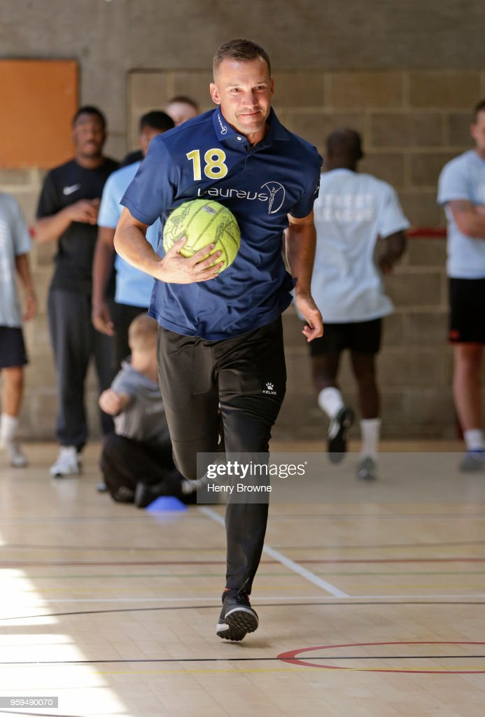 Laureus Ambassador Andriy Shevchenko visits the Laureus-supported Street League programme in London on May 17, 2018 in London, England.