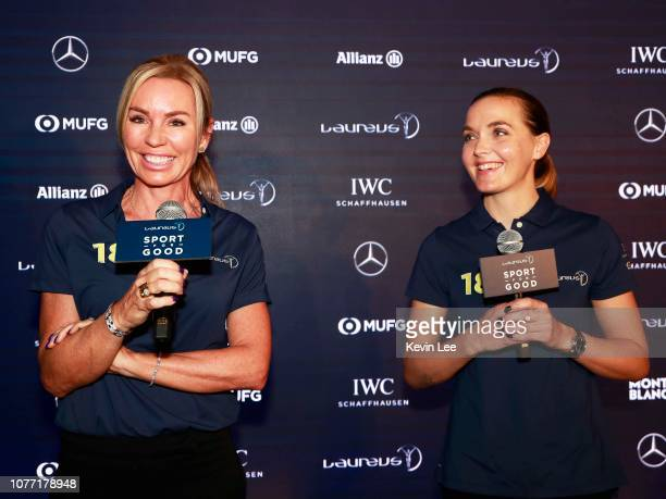 Laureus Ambassador Annabelle Bond Laureus Ambassador Victoria Pendleton speaks during Hong Kong Ambassador Announcement ceremony at Mercedes Me Store...