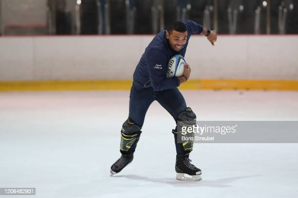 Laureus Ambassador Bryan Habana attends the Kick on Ice Programme Visit at the Eissporthalle prior to the 2020 Laureus World Sports Awards on...