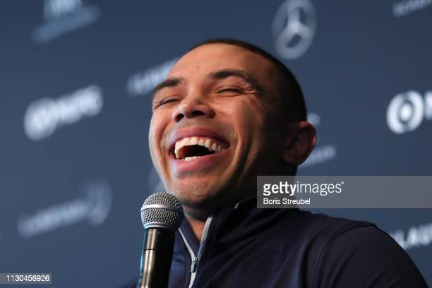 Laureus Ambassador Bryan Habana speaks during a Rugby World Cup discussion on February 18 2019 in Monaco Monaco