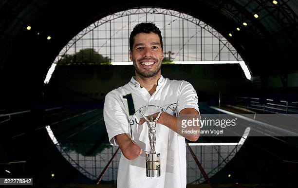 Laureus Ambassador Daniel Dias poses with his Laureus World Sportsperson of the Year with a Disability Award on April 12 2016 in Braganca...