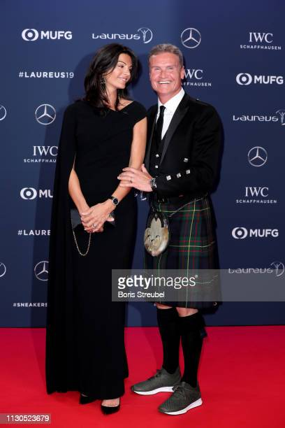 Laureus Ambassador David Coulthard and guest during the 2019 Laureus World Sports Awards on February 18 2019 in Monaco Monaco