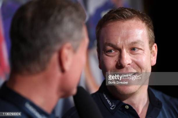 Laureus Ambassador David Coulthard interviews Laureus Academy Member Sir Chris Hoy during Media Interviews for the 2019 Laureus World Sports Awards...