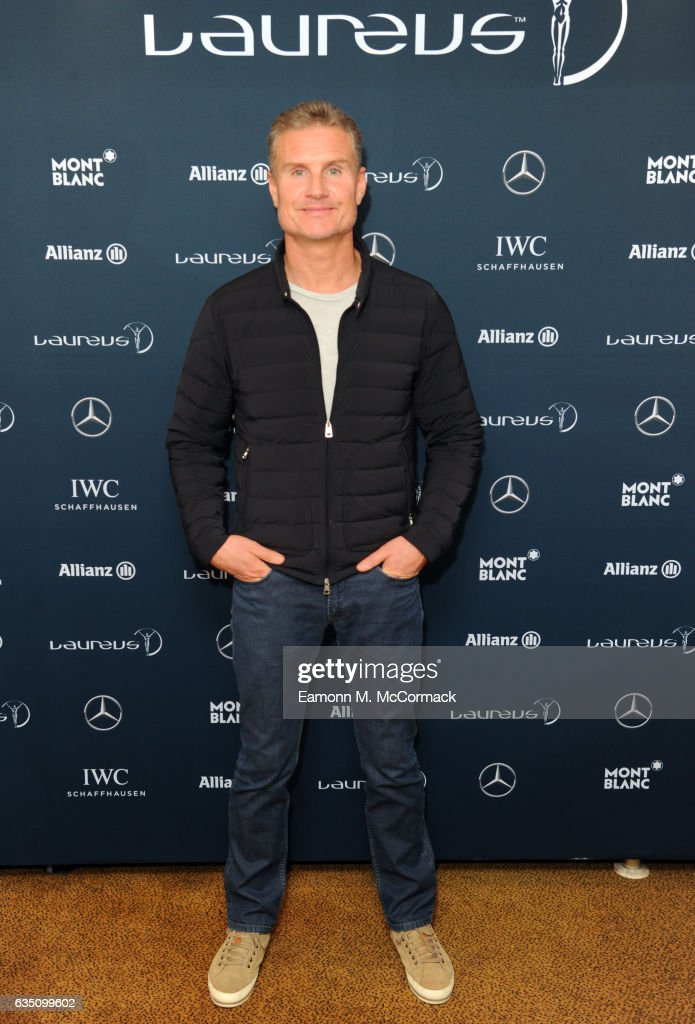 Laureus Ambassador David Coulthard poses during a media interview prior to the 2017 Laureus World Sports Awards at the Sea Club,Le Meridien on February 13, 2017 in Monaco, Monaco.