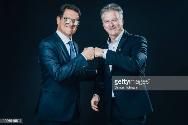 Laureus Ambassador Fabio Capello and Academy Member Steve Waugh pose prior to the 2020 Laureus World Sports Awards on February 17, 2020 in Berlin,...