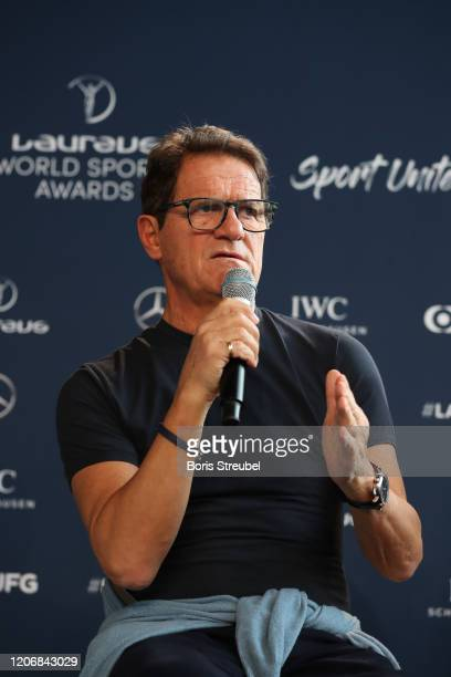 Laureus Ambassador Fabio Capello speaks during a Football Coaches discussion at the Mercedes Benz Building prior to the Laureus World Sports Awards...
