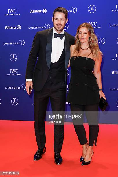 Laureus Ambassador Jamie Redknapp and wife Louise Redknapp attend the Laureus World Sports Awards 2016 on April 18 2016 in Berlin Germany