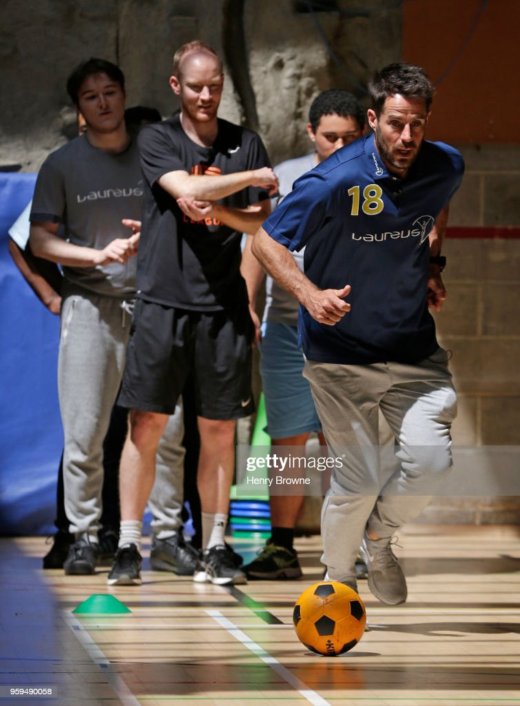 Laureus Ambassador Jamie Redknapp visits the Laureus-supported Street League programme in London on May 17, 2018 in London, England.