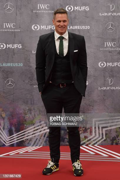 Laureus Ambassador Jean de Villiers poses on the red carpet prior to the 2020 Laureus World Sports Awards ceremony in Berlin on February 17 2020